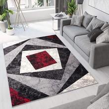 TAPISO Dream Tappeto Moderno Geometrico Quadri Grigio Rosso