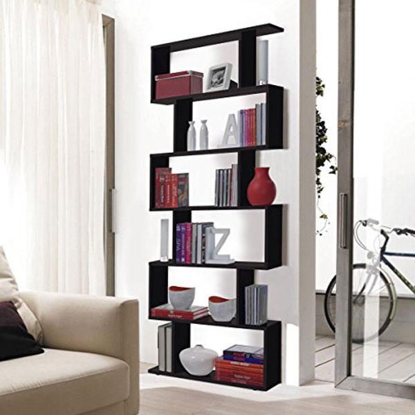 3CASA Kafka a8 - Libreria moderna da terra 6 ripiani Nero Lucido