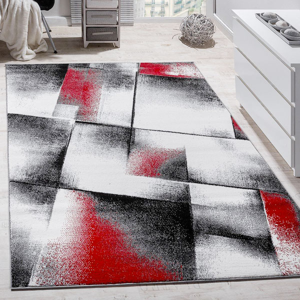 Tappeto di design per arredare casa Paco Home a quadri rosso sfumato