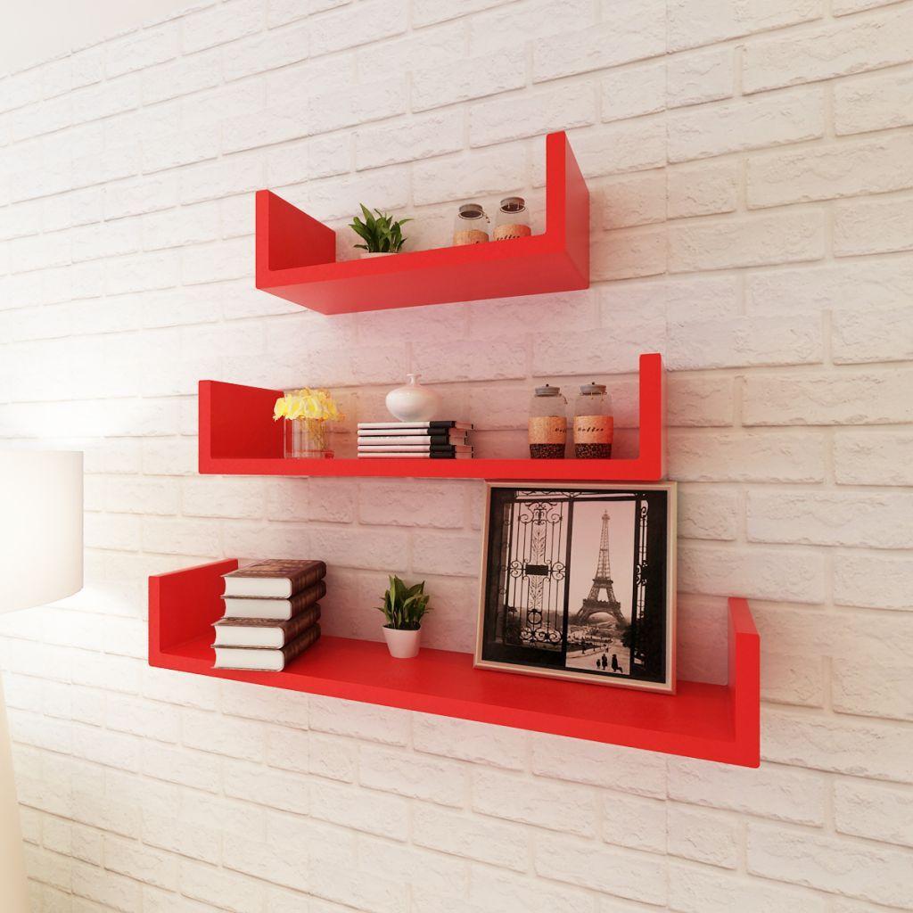 Set 3 Mensole componibili Libreria moderna MDF Rosso