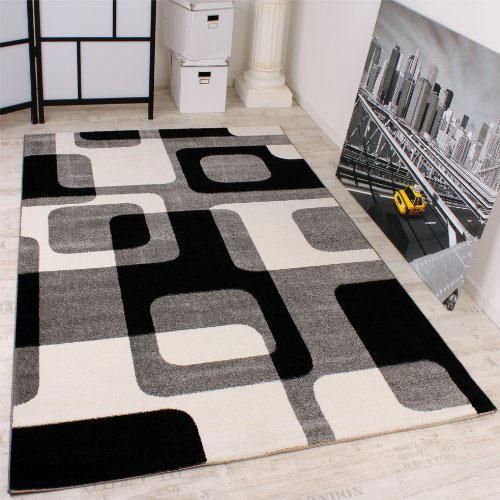 PACO HOME Tappeto di Design Stile Retro Grigio Nero Bianco