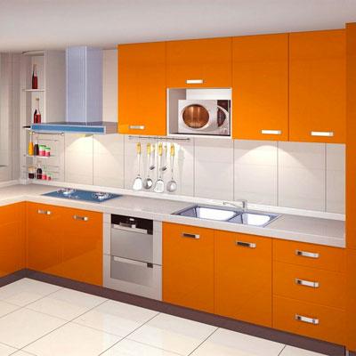 Carta da parati per mobili cucina arancione