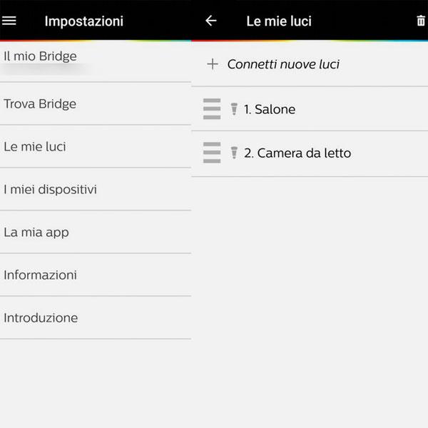 Impostazioni App Philips Hue