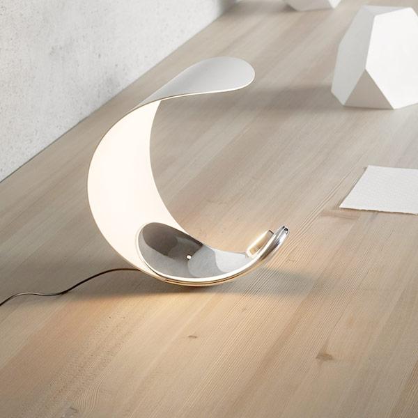 Lampada a LED Luceplan Curl base in cromo
