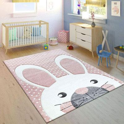 Tappeto per camerette coniglio rosa pastello