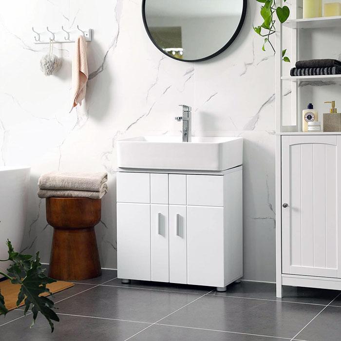 Mobiletto Sottolavabo bagno moderno VASAGLE BBK02WT