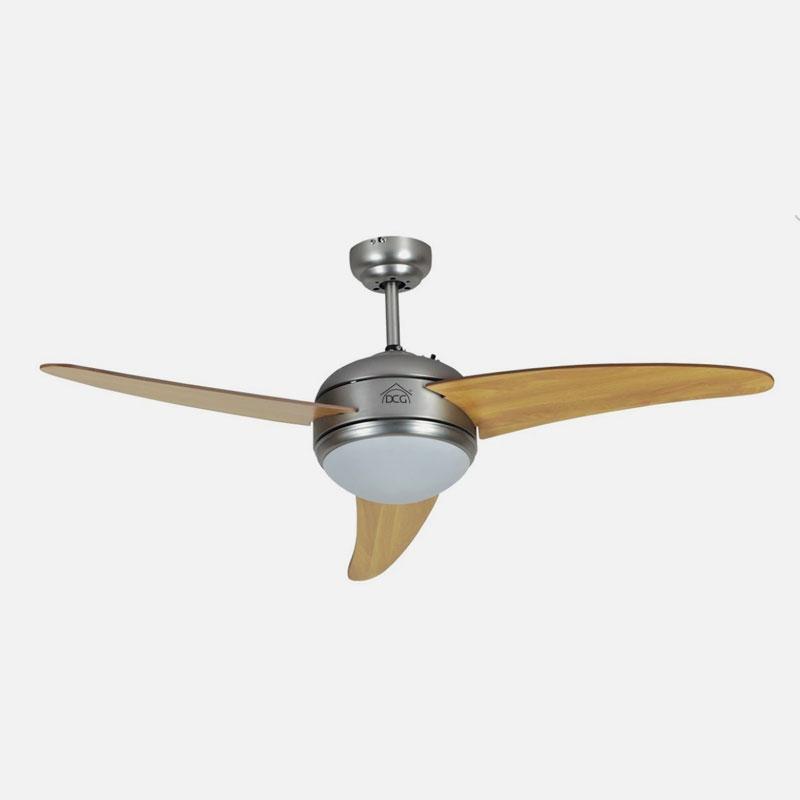 Ventilatore da soffitto con luce con pale in legno DCG con telecomando