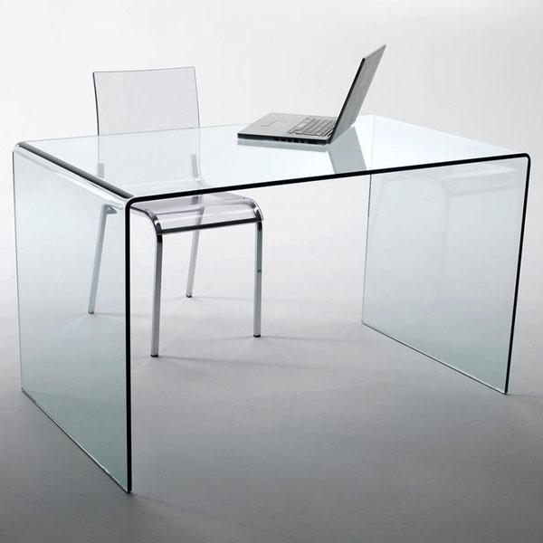 Scrivania in vetro oxford chiaro per lavoro da casa