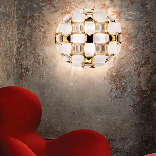 Slamp Mida white/gold. Lampada di design da soffitto